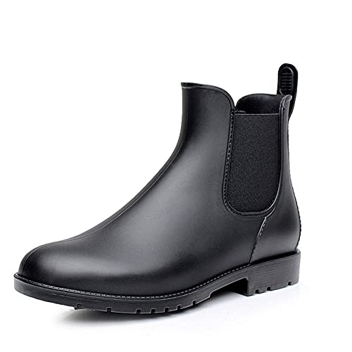 low priced 4fda6 2f008 NEOKER Chelsea Gummistiefel Damen Herren Kurz Stiefeletten Regenstiefel  Gartenarbeit Blockabsatz Wellington Boots Schwarz Braun 32-43