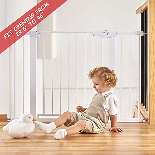 """Cumbor 46"""" Auto Close Safety Baby Gate, Extra Tall And Wide Child Gate, Easy Walk Thru Durability Dog Gate For The House, Stairs, Doorways. Includes 4 Wall Cups, 2.75-Inch And 8.25-Inch Extension"""