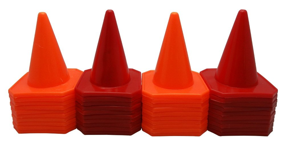 Bluedot Trading 4'' RC Racing Agility Cones, Orange & Red - Set of 40