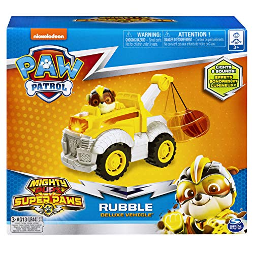Paw Patrol, Mighty Pups Super Paws Rubble's Deluxe Vehicle with Lights and Sound - http://coolthings.us