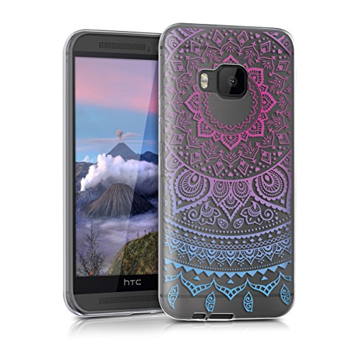 kwmobile TPU Silicone Case for HTC One M9 - Crystal Clear Smartphone Back Case Protective Cover - Blue/Dark Pink/Transparent ()