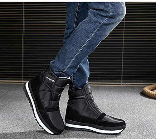 Boots Navy Waterproof Black Winter 3 NEOKER Lined Snow Womens Ankle Mens Outdoor Slip Grey Anti Boots Walking 10 Warm Red Black Boots Fur Shoes UK SPxRwIdxq