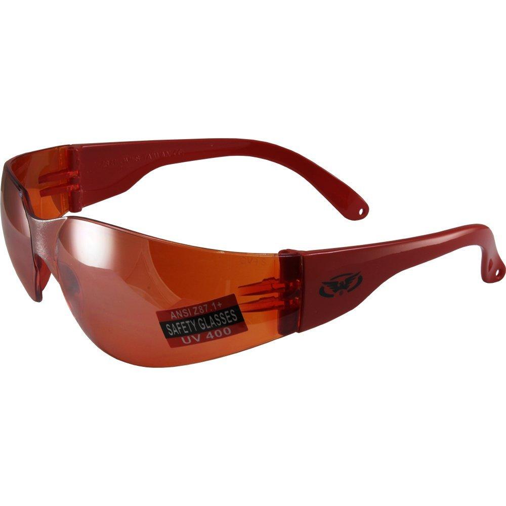 Global Vision Eyewear Unisex-Adult's Global Vision Rider Safety Motorcycle Riding Sunglasses Frame Mirror Lens Z87.1 (Orange, Large/12)