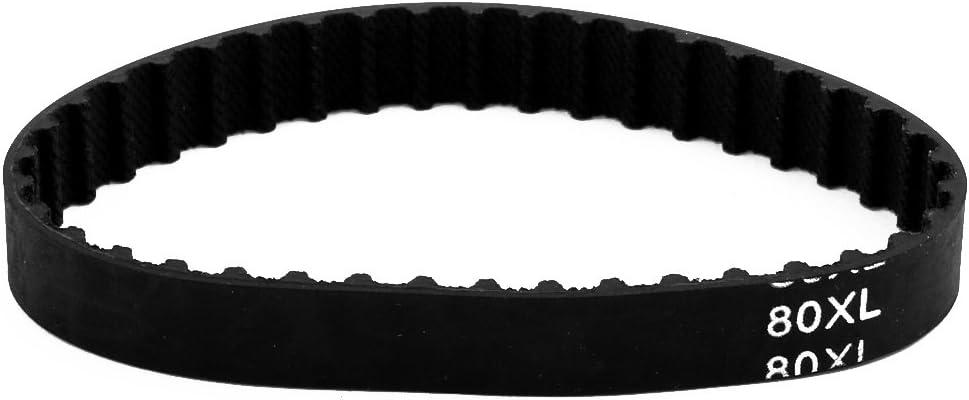 uxcell 80XL 40 Teeth 10mm x 5.08mm Rubber Timing Geared Belt for Stepper Motor Black