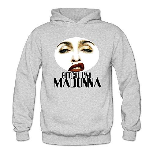 XJBD Women's Bitch I'm Madonna Handsome Hoodie Ash Size S ()