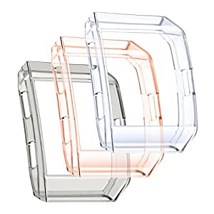Fitbit Ionic Protector Case, bayite Ionic Accessories TPU Rugged Protective Frame Shock Resistant Cover Shell For Fitbit Ionic Smart Watch (3 Pack: Crystal Clear + Black + Orange)