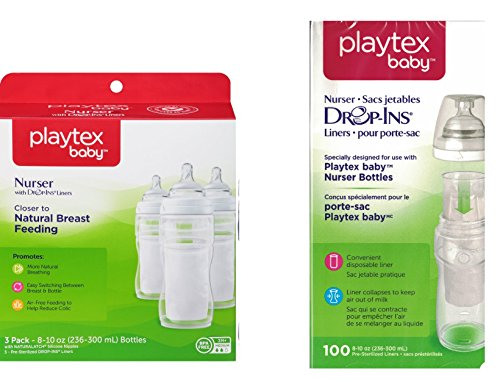 Playtex BPA Free Premium 8 Ounce Nurser Bottles 3 Count with 105 Drop In Liners