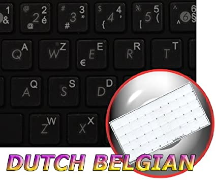 14X14 Dutch Belgian Keyboard Labels ON Transparent Background with Yellow Lettering