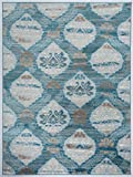 Cheap Antep Rugs Zeugma Collection Vintage Area Rug 294-Dark Blue/Aqua 5'3 X 7′