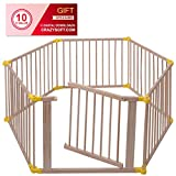 Baby Playpen 6 Panel Foldable Wooden Frame Kids Safety Play Fence In/Outdoor - By Choice Products