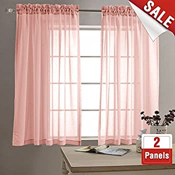 Amazon.com: jinchan Sheer Curtains for Living Room/Bedroom Voile ...