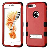 Apple iPhone 7 PLUS Case, Tuff Metal Stand Cover for Apple iPhone 7 PLUS with Stylus Pen ApexGears (TM) Red Black
