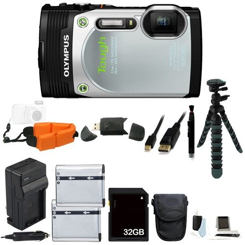 """Olympus Stylus TOUGH TG-850 iHS Waterproof Digital Camera (Silver) Bundle Includes Extra Batteries, an AC/DC Charger, Floating Wrist Strap, 12"""" Flexible Tripod, and with a FREE 32GB Class 10 SDHC Memory Card and MORE!"""