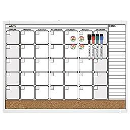 Quartet Dry Erase Cork Calendar Board Combo Value Pack, Magnetic, Frame Color May Vary (44202)