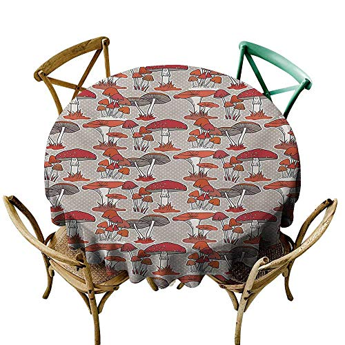 StarsART Tablecloth Round Mushroom,Mushrooms Pattern Healthy Edible Autumn Jungle Trees Natural Organic Vegetable,Red Orange Tan D70,Table Cover for Outdoor and Indoor