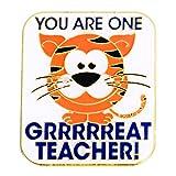 Teacher Appreciation One Grrr-eat Teacher Award Lapel Pins with Tiger, 12 Pins