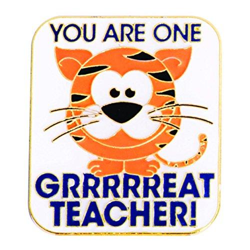 Teacher Appreciation One Grrr-eat Teacher Award Lapel Pins with Tiger, 12 Pins by TCDesignerProducts