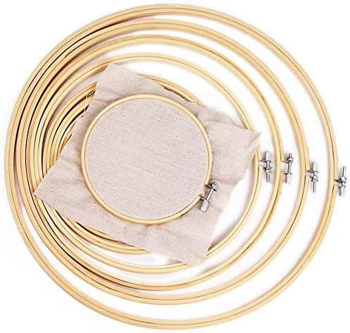6 Pieces Embroidery Hoops Bamboo Circle Cross Stitch Hoop Ring 4 inch to 10 inch for Embroidery & Cross Stitch and handicrafts