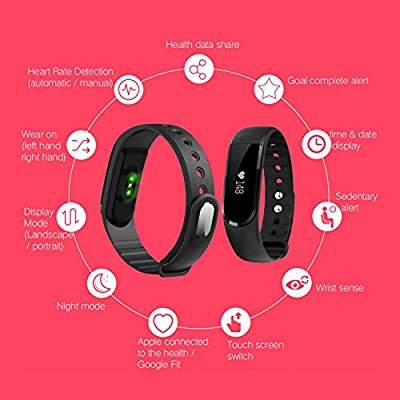 LETSCOM Fitness Tracker Watch, Bluetooth 4.0 Heart Rate Monitor Bracelet, IP67 Waterproof Touch Screen Smart Bands with Activity Tracker for iPhone Android Smartphone