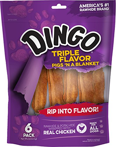 Dingo Triple Flavor Pigs 'N A Blanket Rawhide, 6-Count
