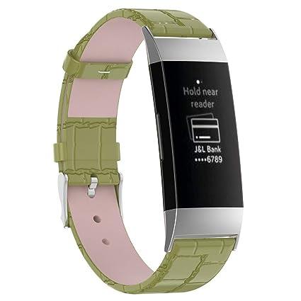 samLIKE Pulsera de Piel Fitbit Charge 3 para Hombre y Mujer, Correa ...
