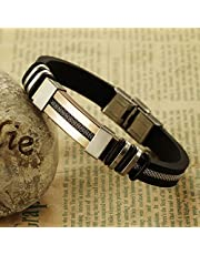 Men's handmade gold tone Titanium steel Silicone leather fashion bracelet (P793J)
