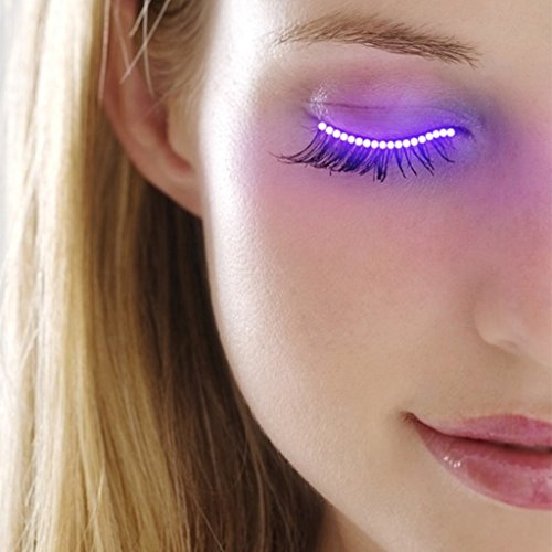 Arich 1 Pair Voice Control LED Eyelashes Waterproof False Eyelash Light Fake Eyelashes for Xmas Halloween Pub Club Bar Party (Pink Purple)