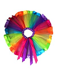 Blackobe Girls Layered Rainbow Tutu Skirt Dance Dress Ruffle Tiered Clubwear