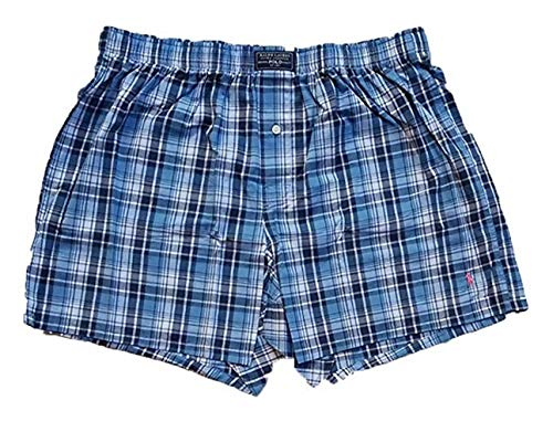 Polo Ralph Lauren Men's Classic Woven Printed Boxer (Small, Blue Plaid/Pink ()