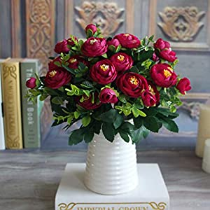 GSD2FF Artificial Flowers Silk Peony Flower Flower Fake Vivid 6 Branches Autumn Wedding Home Party Decoration 65