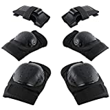 Knee Pads Elbow Pads Wrist Guards, Playmont Child Kids Protective Gear Set for Biking, Riding, Cycling and Multi Sports Safety: Scooter, Skateboard, Bicycle, Rollerblades Black
