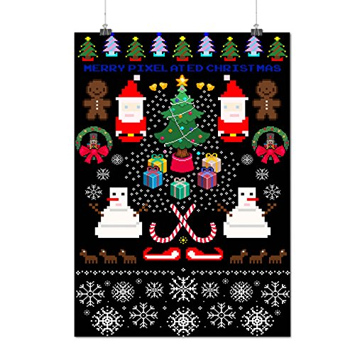 [Merry Christmas Fun Pixel Santa Matte/Glossy Poster A4 (9x12 inches)   Wellcoda] (Bride And Groom Halloween Costumes Uk)
