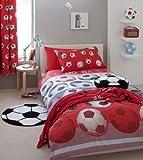 SOCCER RED WHITE FULL BED QUILT COVER DUVET SET