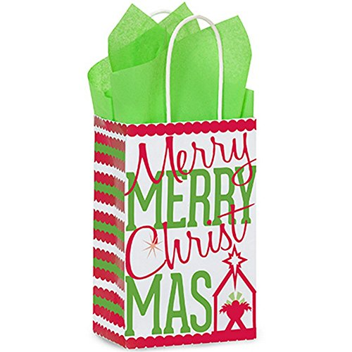 Merry Christmas Manger Paper Shopping Bags - Rose Size - 5.25x3.5x8.25in. - 200 Pack by NW