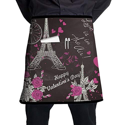 Banbanweiqun Wallpaper Pattern with Eifel Tower Half Home Kitchen Apron Teachers, Waitress,Waiter Or Server,Apron 1 Pockets,Black Half Apron,Kitchen Cooking,Crafts,and Restaurants See All Waist Black]()