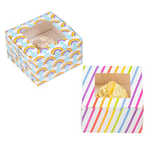 24-Pack Cupcake Boxes - Rainbow & Unicorn Themed Individual Containers with Window and Inserts, Glossy Bakery Box, 2 Designs, 5 x 3 x 5 -