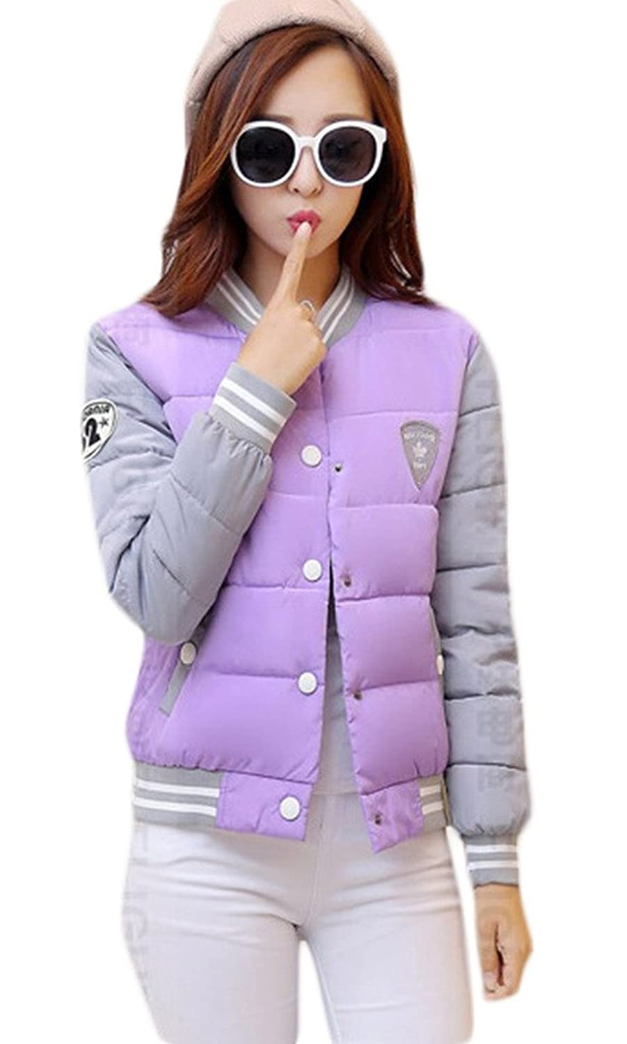 Smile YKK Womens Splice Color Baseball Jacket Button Padded Coat Champagne XXL