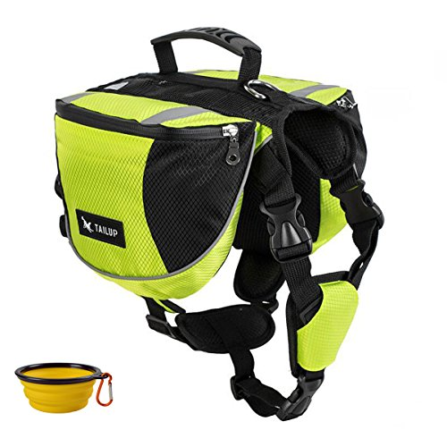 GrayCell Dog Saddlebags Hound Travel Hiking Camping Backpack for Medium Large Dogs (Green,M)