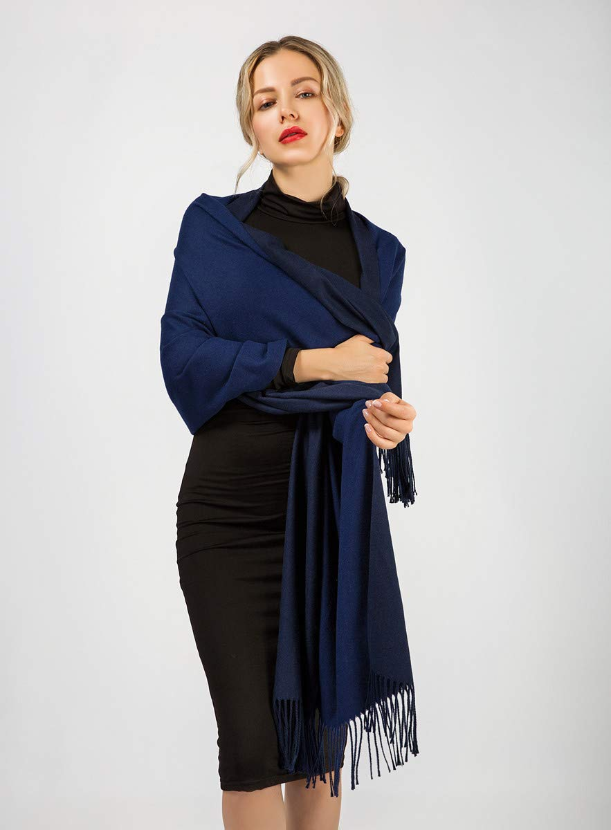 Women Scarves yeabiu Cashmere Scarf Large Winter Fringe Scarf Warm Wool Shawl Wrap Stole for Women (Medium, Blue)