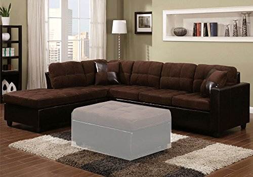 1PerfectChoice Mallory Reversible Sectional Sofa Chocolate Microfiber Upholstery Leather-like