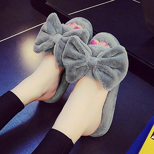 LaxBa Lhiver au chaud, lhiver Chaussons Chaussons moelleux Accueil chaleureux en hiver, chaussures antiglisse Chambre Chaussons gris clair40-70 monter