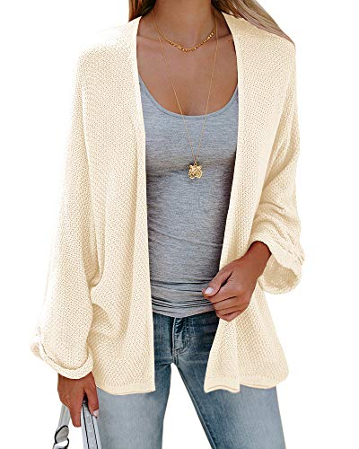 Sherrylily Womens Loose Open Front Kimono Cardigan Cape Long Sleeve Solid Color Sweater Cloak (X-Large, Beige)