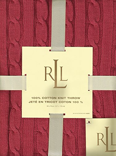 Lauren by Ralph Lauren Coral Red Cable Knit 50 x 70 Throw ()