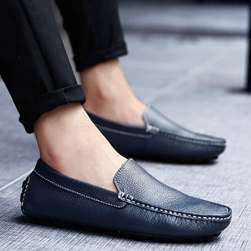 Jamron Confortable Conduite Synthétique Mocassins Pantoufles Bleu Cuir Hommes Doux Chaussure Bateau Marin 0nxp0r