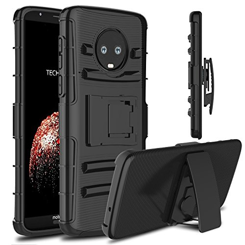 Moto G6 Plus Case, Venoro Heavy Duty Shockproof Armor Holster Defender Full Body Rugged Protective Case Cover with Kickstand and Belt Swivel Clip for Motorola Moto G6 Plus (Halloween Movies To Watch At School)