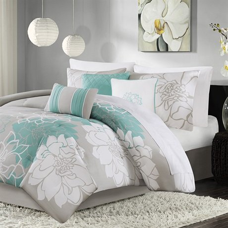 Madison Park Lola 7 Piece Print Comforter Set, Queen, Aqua