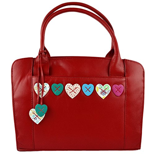 Mala Leather, Borsa a mano uomo Rosso (rosso)
