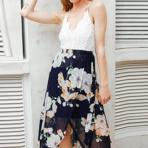 Vestido largo Amlaiworld Mujer Backless Lace vestido largo profundo V-cuello alto vestido de playa de cintura Multicolor