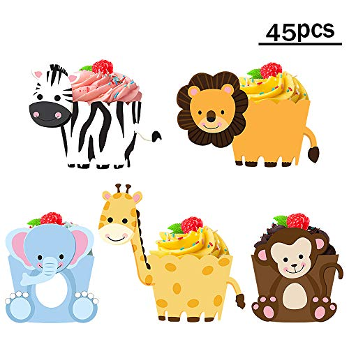 Zoo Jungle Animals Birthday Cupcake Toppers Wrappers For Jungle Animals Safari Theme Kids Birthday Party Supplies,Baby Shower Party Decorations-45 Pack -