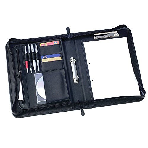 eBuyGB PU Faux Leather Zipped A4 Conference Folder with Clip Holder Ring Binder and Inner Pockets (Black) (Zipped Conference Folder)